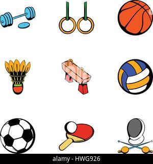 Sport Aktivitäten Icons set, cartoon-Stil - Stockfoto