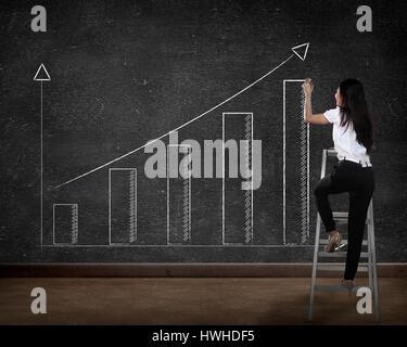 Asien-Geschäftsperson Diagramm an die Tafel zeichnen - Stockfoto