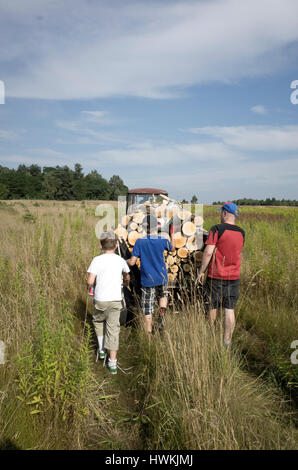 Vater und Söhne folgen Wagen, gefüllt mit Brennholz über einen Pfad in einem Feld auf Heimweg 41, 12 und 10 Jahre - Stockfoto