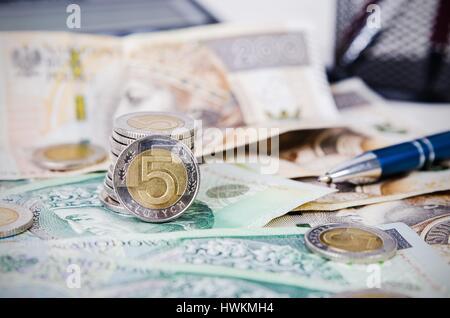 Polnische Geld Nahaufnahme Geschäft Zusammensetzung Polnische