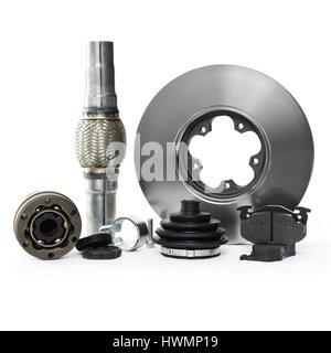 Neue Autoteile für Reparatur, Service für Ihr Auto, Bremsen und verschiedene andere Teile - Stockfoto