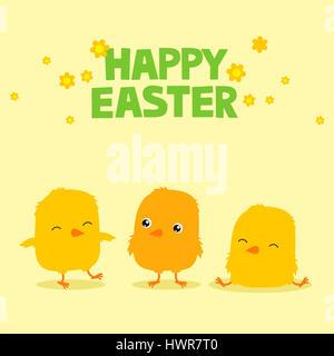 Ostern Grußkarte mit drei niedlichen Cartoon Küken und Text sagen Frohe Ostern - Stockfoto