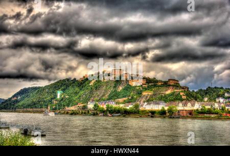Ansicht der Festung Ehrenbreitstein in Koblenz, Deutschland - Stockfoto
