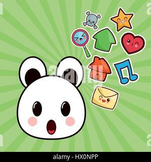 Kawaii Bär Zeichenbild social-media - Stockfoto