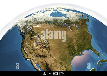 Erde aus dem Weltraum. Computer Bild zeigt die Erde aus dem Weltraum gesehen mittig über Nordamerika. - Stockfoto