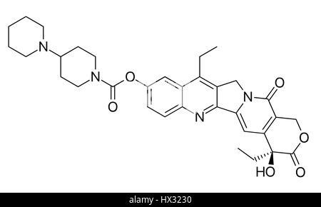 Irinotecan Krebs Chemotherapie Wirkstoffmolekül. Stilisierte Skelettformel (chemische Struktur). - Stockfoto