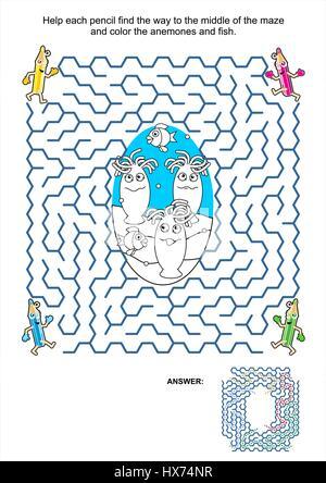 Labyrinth-spiel und Färbung Aktivität Seite für Kinder: Hilfe jeder ...