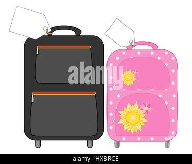 zur Veranschaulichung der Koffer für Mann und Frau für einen Urlaub mit großen weißen Etiketten auf einem weißen - Stockfoto