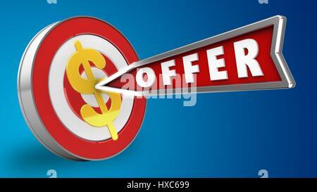 abstrakt 3d Abbildung Ziel getroffen mit Pfeil und Angebot Zeichen - Stockfoto