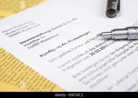 Schriftliche Mitteilung über Einen Mietvertrag Schriftliche