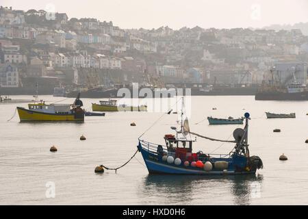 Brixham, Devon, UK. 27. März 2017. Großbritannien Wetter. Angelboote/Fischerboote vertäut im Hafen an einem warmen - Stockfoto