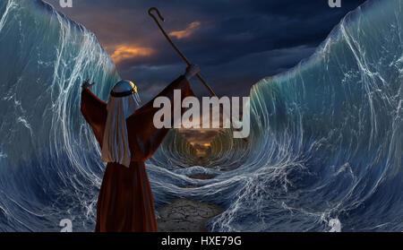 Moses Exodus Route. Überquerung des Roten Meeres. Teil der biblischen Erzählung - Israeliten zu entkommen. Große - Stockfoto