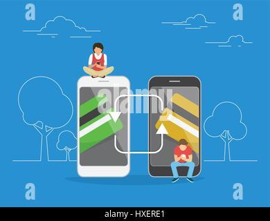 Mobile Banking und Geld transferieren Konzept Abbildung - Stockfoto