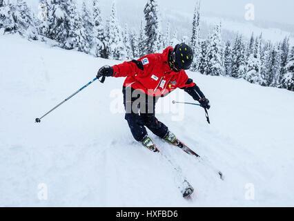 Bei mäßiger Schneefall, die die Landschaft speckles, zeigt Dozent an Big White Ski Resort eine übertriebene korrekte - Stockfoto