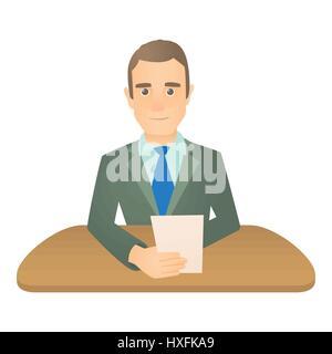 Mann-Moderatorin Symbol, Cartoon-Stil - Stockfoto