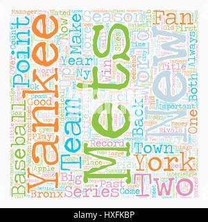 Mets Yankees Spalte Text Hintergrund Wordcloud Konzept - Stockfoto