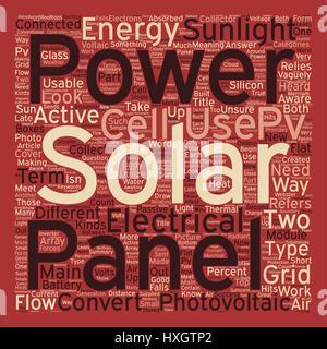 Solar Panels Pvs At Work Hintergrund Wordcloud Textkonzept - Stockfoto