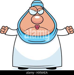 Eine Karikatur Illustration einer muslimischen Frau suchen Sie wütend. - Stockfoto
