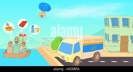 Flüchtling-Krise horizontale Banner, Cartoon-Stil - Stockfoto