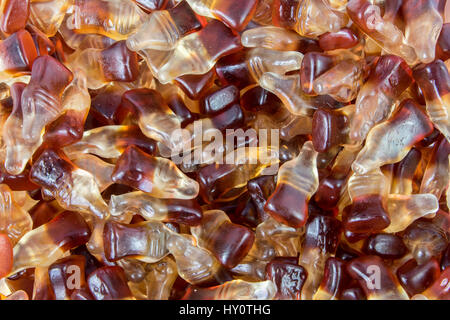Nahaufnahme der Cola Flasche Gummibärchen Bonbons - Stockfoto
