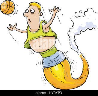 Ein Cartoon-Basketball-Spieler von einem Raketentriebwerk angetrieben. - Stockfoto