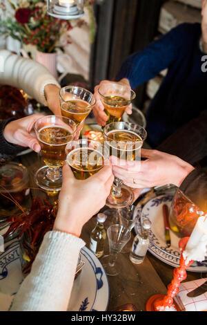 Schweden, Menschen erhöhen Toast während Crayfish party - Stockfoto
