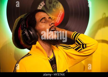Amsterdam, Niederlande - März 2017: Wachsfigur von Bob Marley Sänger in Madame Tussauds Wachsfigurenkabinett in - Stockfoto