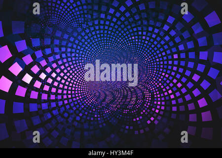 Fraktale von blau und rosa Fliesen fließt aus der Mitte, eine abstrakte Hintergrundbild