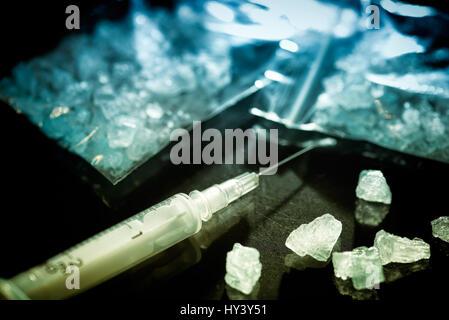 Droge Crystal Meth, symbolisches Bild, Droge Crystal Meth, Symbolbild - Stockfoto