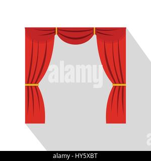 Vorhang auf Bühne Symbol, flachen Stil - Stockfoto