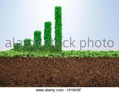 Wachstum Geschäftskonzept mit Rasen wächst in Form eines grafischen bar - Stockfoto