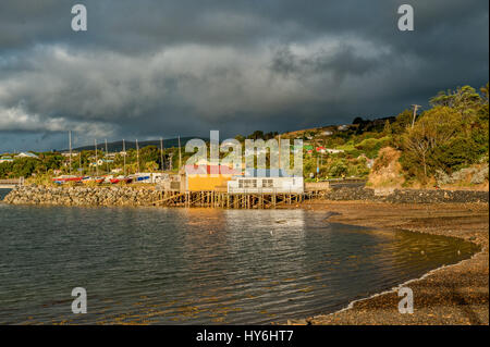 Otago Peninsula und Otago Harbour während des Sonnenuntergangs östlich von Dunedin, Neuseeland