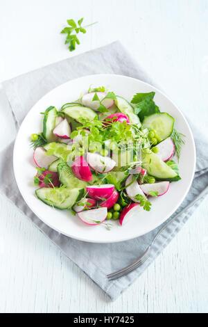 Gesundes Gemüse Frühlingssalat mit Rettich, Gurken, grüne Erbsen und Rosenkohl, Diät, vegetarisch, Vegan, Bio, grün Essen, Frühling Entgiftung snack
