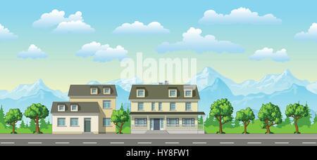 Beispiel für ein klassisches Einfamilienhaus mit Bäumen - Stockfoto