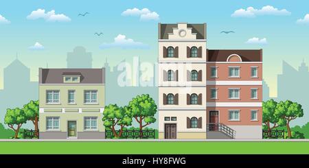 Illustration der drei klassischen Einfamilienhäusern mit Bäumen - Stockfoto