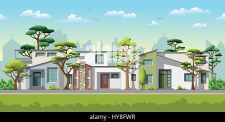 Illustration der drei modernen Einfamilienhaus mit Bäumen - Stockfoto