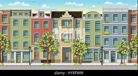 Nahtlose Darstellung einer klassischen Familie Häuser - Stockfoto