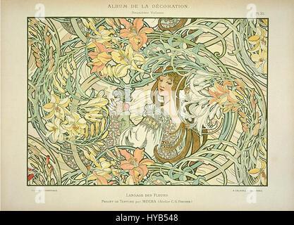 """""""Sprache der Blumen"""" von Alphonse Mucha - Stockfoto"""