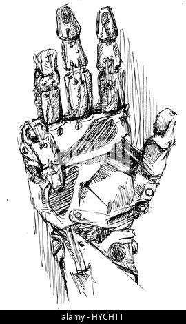 Roboterarm Zeichnung. - Stockfoto