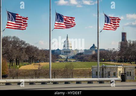 Amerikanische Flaggen mit US Capitol auf Hintergrund - Washington, D.C., USA - Stockfoto