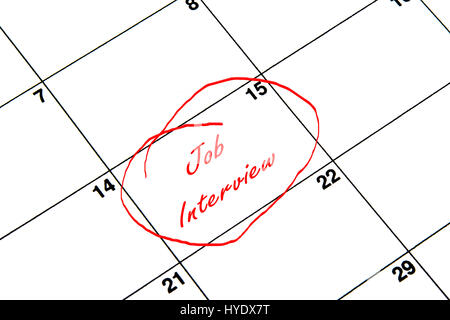 Job-Interview auf einen Kalender in rot eingekreist Stockfoto