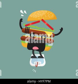 Burger-Charakter auf Waage mit Übergewicht. Gesundes Konzept - Stockfoto