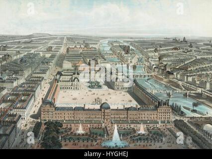 Moderne Paris. Le Louvre, Les Tuileries, et la rue de Rivoli, Vue Prise du Jardin des Tuileries - Stockfoto