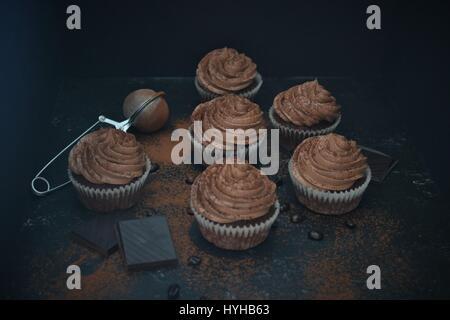 Schokolade Kaffee Mocca Cupcake Stockfoto