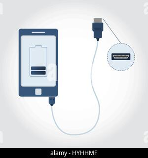 Verbundenen Handy USB / HDMI-Kabel. Vorderansicht des HDMI-Kabel im Detail. Batterie-Symbol am Bildschirm angezeigt. - Stockfoto
