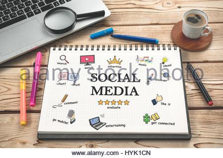 Schreibtisch gezeichnet  Social-Media-Konzept am Schreibtisch mit verschiedenen Hand ...