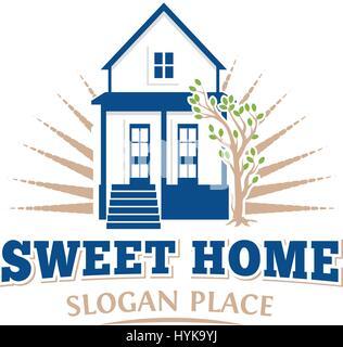 Isolierte Blau architektonische Haussymbol für Immobilien Business Broschüre Emblem auf weißem Hintergrund-Vektor - Stockfoto
