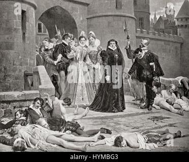 Caterina de' Medici sieht Opfer von der St.-Bartholomäus Massaker im Jahr 1572. Eine Zielgruppe der Morde und eine - Stockfoto