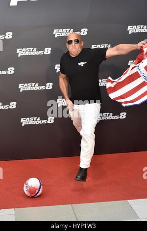 """Madrid, Spanien. 6. April 2017. Schauspieler Vin Diesel bei Photocall """"Schnell & wütend 8"""" in Madrid. 6. April 2017. - Stockfoto"""