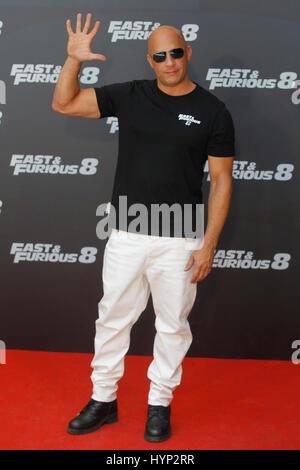 Madrid, Spanien. 6. April 2017.  Vin Diesel im Bild während der Promotion für den neuen Film schnell & wütend 8 - Stockfoto